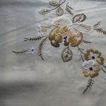 Unique Art drawing of Chrysanthemums in rare medium of fine hand embroidery round tablecloth.
