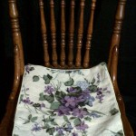 Periwinkle Blue Woolen Needlepoint Tapestry cushion as chair pad cover.