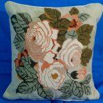 Adam first tea rose woolen needlepoint tapestry cushion