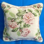 Needlepoint Tapestry pillow cover 3 faded roses.