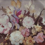 Needlepoint Still Life Flowers in a Blue Vase Wool Tapestry cushion cover.