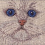 Needlepoint White true Persian Doll-faced Cat cushion cover closeup.