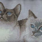 Needlepoint Siamese Cats in Petit Point & Gros Point Woolen Tapestry cushion cover closeup.