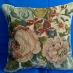Luscious Old Rose Duchesse de Brabant Woolen Needlepoint cushion cover.