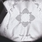 Tea Cozy true Appenzell embroidery on Burratto grid, white embroidery.