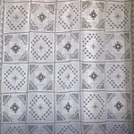 Handmade Modano Tuscany Lace tablecloths as no-sew curtain panel.
