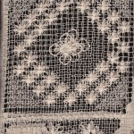 Vintage Ecru Tuscany Lace tablecloth close up image