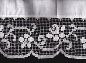 Hand knotted Tuscany Filet Lace in classic rose pattern, available in fresh white natural fibre quality cotton.