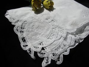 Elegant Wedding Handkerchief with Battenburg Lace Hearts for heirloom keepsake and starting your own family tradition.