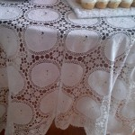 White Cotton Wedding Ring tablecloth features hand crocheted lace with White work embroidered rings.