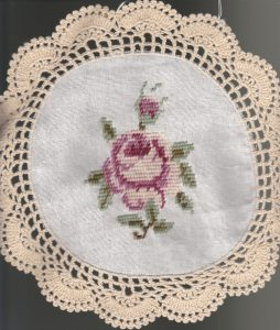 Woolen Needlepoint Gros Point 6 inch tea coaster with crochet trim.