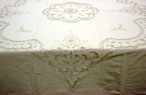 Cutwork Rose close up view beautiful cut out roses embroidery on Cotton