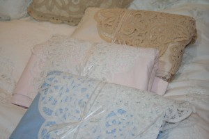 Elite Battenburg Lace sheet set in 4 colours: Crisp White, Vintage Ecru, Blush Pink & Dusky Blue.