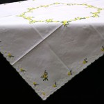 Yellow Blooms embroidered table topper for Easter or spring/summer.